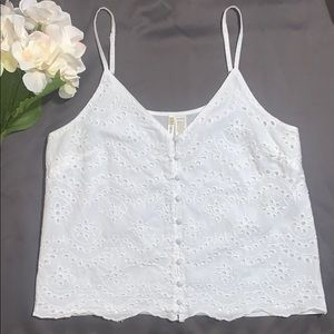White Eyelet Button Up Tank Top